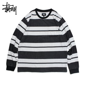 STUSSY ステューシー Tシャツ メンズ 長袖 ロンT カットソー クルーネック FRANKLIN STRIPE LS CREW ブラック 黒 1140130