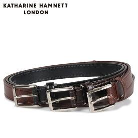 KATHARINE HAMNETT LONDON キャサリンハムネット ロンドン ベルト レザーベルト メンズ 本革 LEATHER BELT ブラック ブラウン ダーク ブラウン 黒 KH505025 [10/15 新入荷]