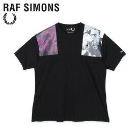 【最大1000円OFFクーポン】 FRED PERRY RAF SIMONS フレッドペリー ラフシモンズ Tシャツ 半袖 メンズ コラボ PRINT PATCH T-SHIRT ブラック 黒 SM8133
