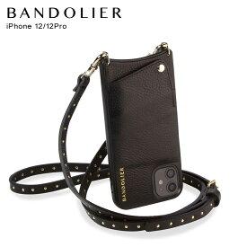 バンドリヤー BANDOLIER iPhone12 12 Pro ケース スマホ 携帯 ショルダー アイフォン NICOLE GOLD メンズ レディース レザー ニコル ゴールド ブラック 黒 10NIBLKG