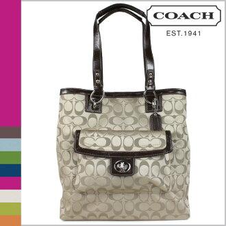 Coach COACH tote bag khaki X マホガニーペネロピシグネチャー NS Lady's