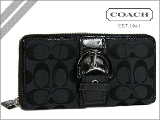 卖出教练教练 F45575 钱包 [黑灰色 × 黑] SOHO 签名扣手风琴拉链钱夹 [经常插座]