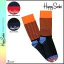 ハッピーソックス HAPPY SOCKS 靴下 ソックス ストライプ SH01 2カラー 1PK UNISEX COMBED COTTON CREW HALF STRIPE …