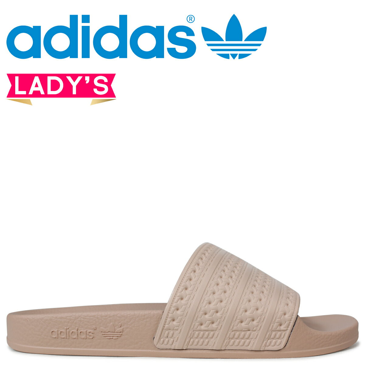 adidas Originals アディレッタ アディダス レディース サンダル シャワーサンダル WOMENS ADILETTE SLIDES CQ2235 ピンクベージュ [予約商品 4/19頃入荷予定 新入荷]