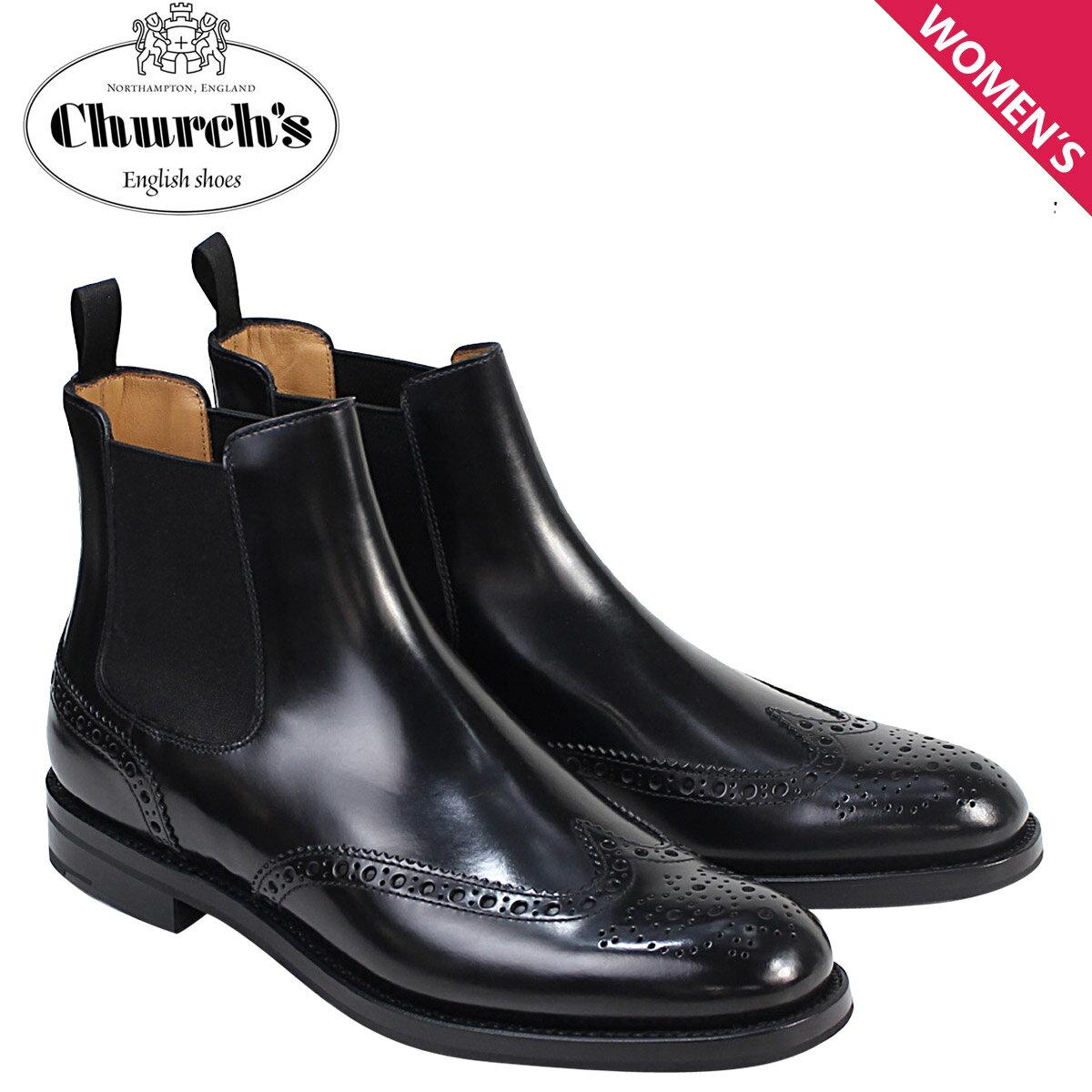 Churchs 靴 レディース チャーチ ブーツ サイドゴア ショートブーツ ウイングチップ Ketsby WG Polish Binder Calf 8706 DT0001 ブラック [12/21 再入荷]