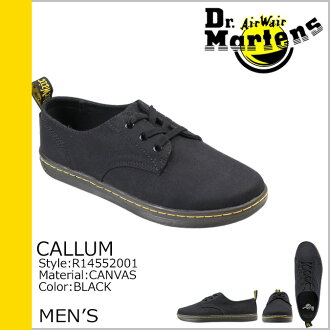 博士马滕斯 Dr.Martens 列 3 孔鞋 CALLUM 3 眼鞋帆布男士休闲鞋 R14552001 黑色 [9 / 3 新股票] [定期]