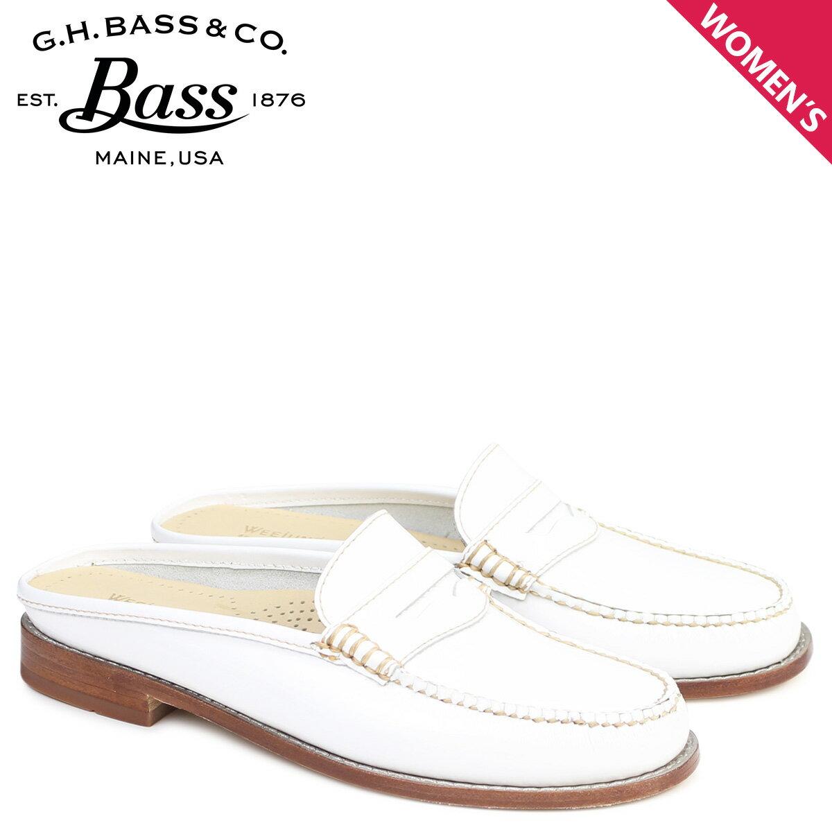 G.H. BASS ローファー ジーエイチバス レディース サンダル スリッパ バブーシュ WYNN PATENT LEATHER MULE WEEJUNS 71-22850 靴 ホワイト
