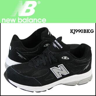 新平衡新平衡孩子的 KJ990BKG 运动鞋明智麂皮绒网女性黑