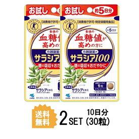 【2パック】【お試しサプリ】【送料無料】 小林製薬 サラシア100 約5日分×2セット (30粒) ダイエットサプリメント 特定保健用食品