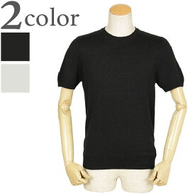 Gran Sasso グランサッソ ニット Tシャツ ハイゲージ リネン コットン クルーネック プルオーバー 半袖 57169 18601 099/ブラック 050/ライトグレー
