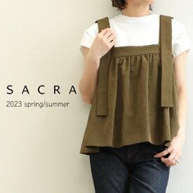 SACRA サクラ レディース ワンピース ロング丈 半袖 フレア リネンボイル 121207041 100/アッシュベージュ