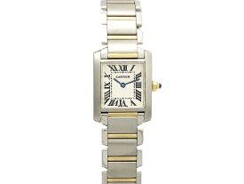 【中古】カルティエ CARTIER タンクフランセーズSM コンビ K18YG/SS クォーツ ホワイト文字盤 レディース腕時計 仕上済