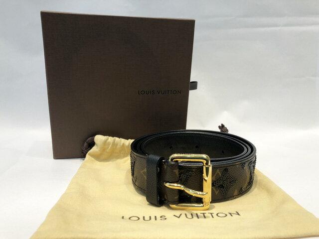 【中古】LOUIS VUITTON ルイヴィトン モノグラムエクリプス サンチュール90 M9825 ベルト スパンコール 黒