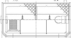 【ホーコス】GFR-15PAU《鋼板製蓋付》FRP製 超浅型グリース阻集器(グリストラップ)パイプ流入式シンダー埋込型 15L 鋼板製防錆塗装蓋付