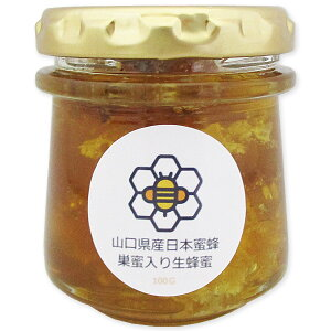 Y【山口県産日本蜜蜂巣蜜入り生蜂蜜(100g)】【山口県産天然ハチミツ100%蜂蜜】日本蜜蜂ミツバチみつばち 非加熱 垂れ蜜 無給餌 薬品不使用