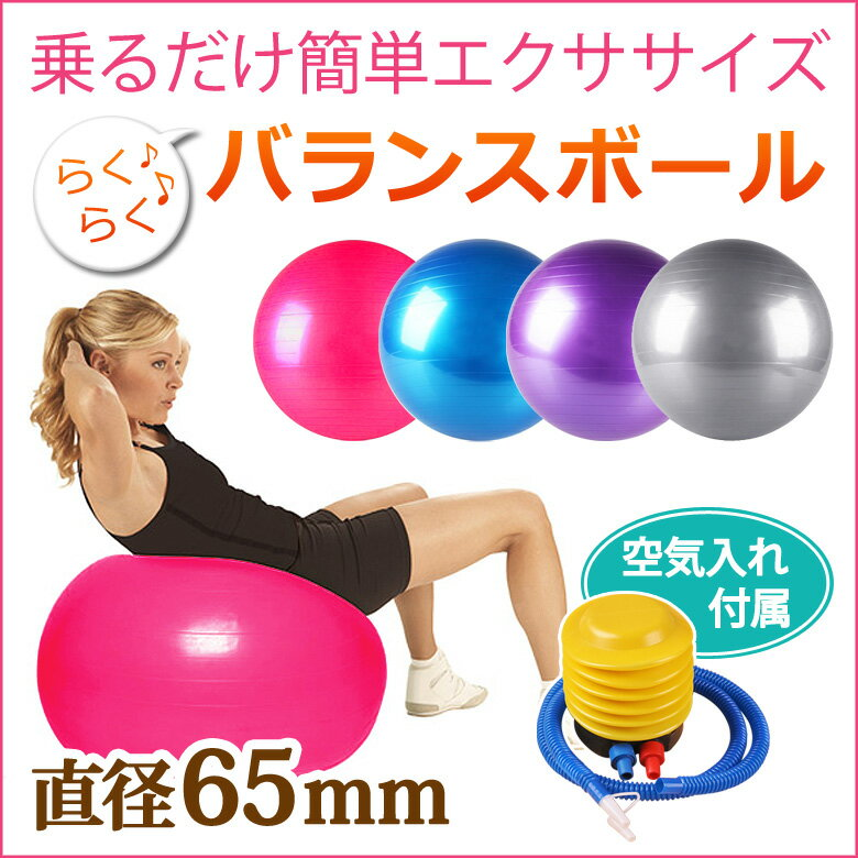 [送料無料] バランスボール 65cm 空気入れ フットポンプ付き エクササイズボール バランス ボール エクササイズ ダイエット 体幹トレーニング トレーニング ER-BLBL65