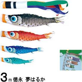 鯉のぼり 徳永 こいのぼりセット 夢はるか 3m7点 夢五色吹流し 撥水加工 ノーマルセット 139587131