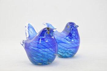 博多びーどろ粋工房ガラスの青い鳥縁起物【ガラス細工/ふくろう/鳥/どうぶつ/かわいい/置物】