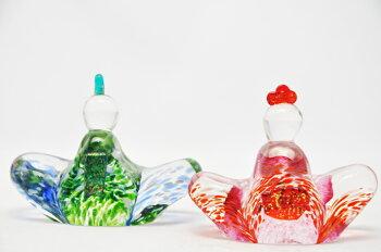粋工房ガラスのお雛様縁起物桃の節句