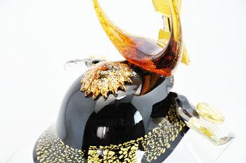 【端午の節句/ガラス細工/ガラス/置物/兜/ミニ/コンパクト/五月人形/兜飾り/武将兜】