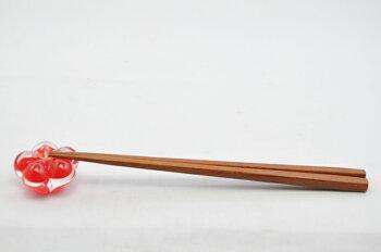 粋工房/沖ノ島朱(あか/)宗像びーどろ/椿の箸置き/