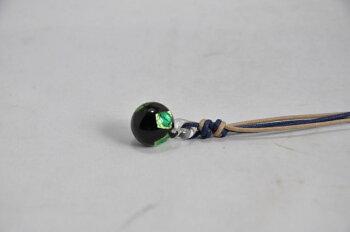 アロマペンダントきらり玉グリーンガラス手作りとんぼ玉