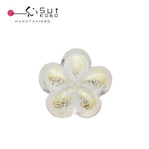 ガラス箸置き 白梅金  おしゃれでかわいいガラスの箸置き 桜 贈答品 ギフト お祝い ガラス細工