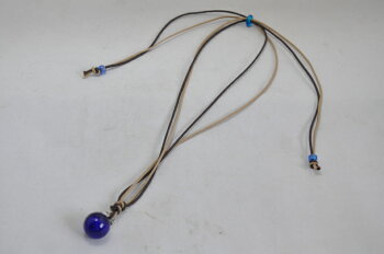 アロマペンダントブルー単色ガラス手作りとんぼ玉