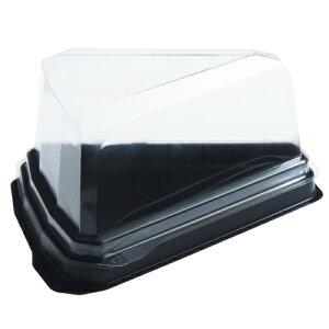 【ケーキ1ピース用ケース】カットケーキデザート容器容器と蓋セット【※蓋角版】【1個から購入OK!】【スーパー、コンビニでおなじみのケーキ容器】