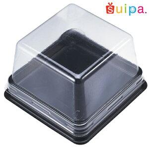 ■PS 和風80角ケース 黒 100個 【和菓子 容器 パック 】