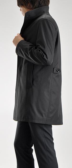 レイヤードライナー付・ボンディング素材・2枚衿スタンドカラーコート(黒ブラックビジネスメンズコート着脱キルティングライナースタンドコート通勤コート)【送料無料】