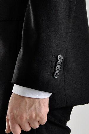 フォーマルスーツメンズスリムスーツ2ツボタン濃染加工深みブラックスリムブラックスーツ結婚式冠婚葬祭黒法事法要礼服オシャレパーティセレモニーsuit