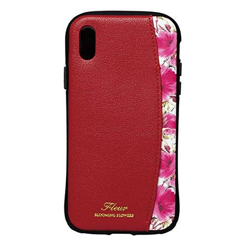 【在庫処分・送料無料】 NATURAL design iPhoneX Xs (5.8インチ) ケース FLEUR WINE RED 衝撃吸収 耐衝撃 カードポケット付 iP8-FLEP03