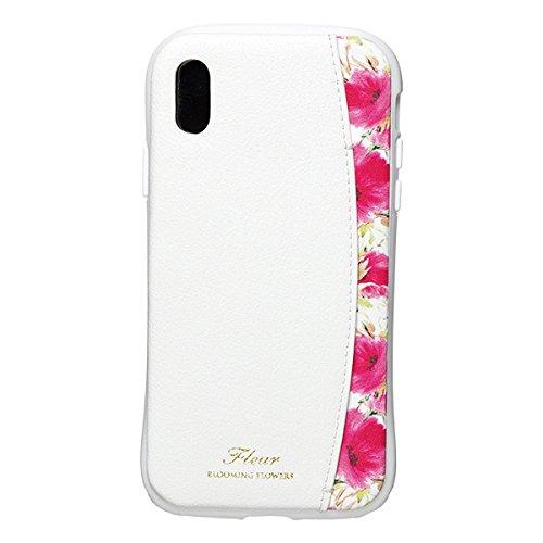 【在庫処分・送料無料】 NATURAL design iPhoneX Xs (5.8インチ) ケース FLEUR WHITE 衝撃吸収 耐衝撃 カードポケット付 iP8-FLEP04