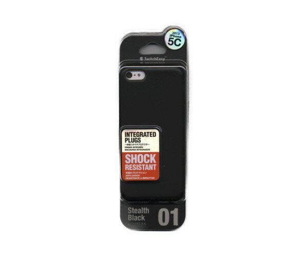 スマホケース カバー iPhone5c SwitchEasy ブラック 黒 ジャケット ソフト 液晶保護フィルム1枚 マイクロファイバークロス NUMBERS Stealth SW-NRI5C-BK