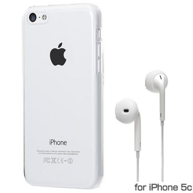 スマホケース カバー iPhone5c Bluevision クリアー ジャケット ポリカーボネート Apple EarPodsイヤホン専用シリコンカバー スクリーン保護フィルム 超極細繊維マイクロファイバークリーニングクロス Friend-S Glass BV-FDS-IP5C-GC