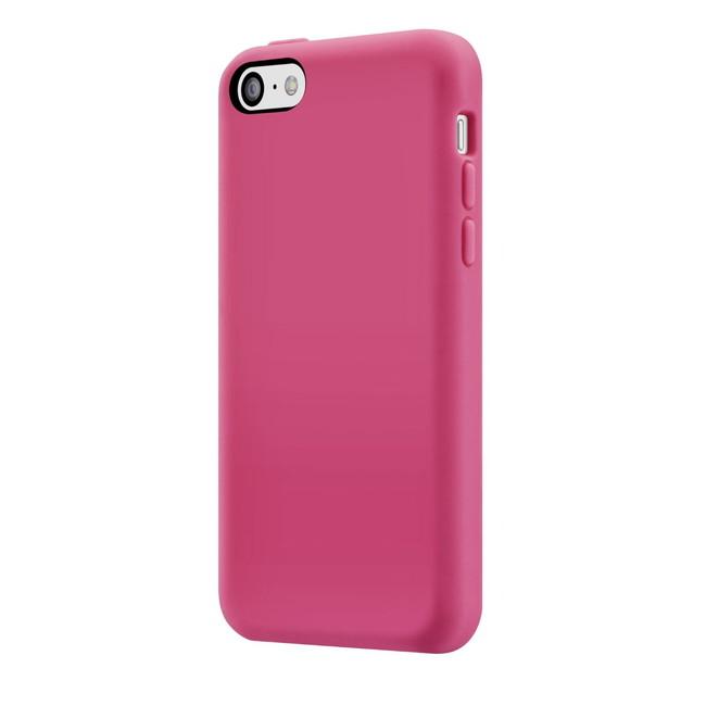 スマホケース カバー iPhone5c SwitchEasy ピンク レッド 赤 ジャケット シリコン イヤホンジャック、コネクタプロテクター 2個(ケース同色) スクリーン保護フィルム マイクロファイバークロス Colors Fuchsia フーシャ SW-COL5C-P