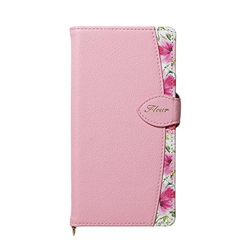 【在庫処分】 NATURAL design iPhoneX Xs (5.8インチ) 手帳型ケース FLEUR Pink ピンク PUレザー カードポケット ストラップ付