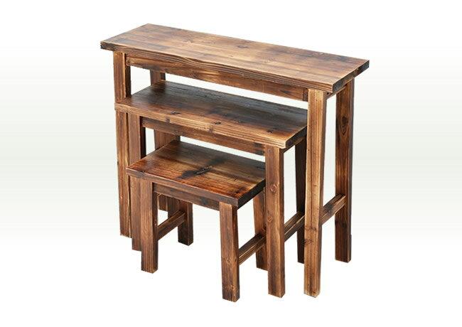天然木製スツール風花台 3点セット ダークブラウン 焼杉【送料無料 収納 木製 北欧 キャスター ボックス 椅子 チェア 丸いす 丸イス】