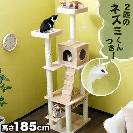 キャットタワー 据え置き おしゃれ 省スペース ハンモック 高さ185cm ワンルーム マンション 猫タワー ネコタワー
