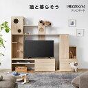 キャットウォーク キャットタワー テレビ台 テレビボード 壁 猫 猫用家具 猫家具 木製 木 ハイタイプ 省スペース おし…