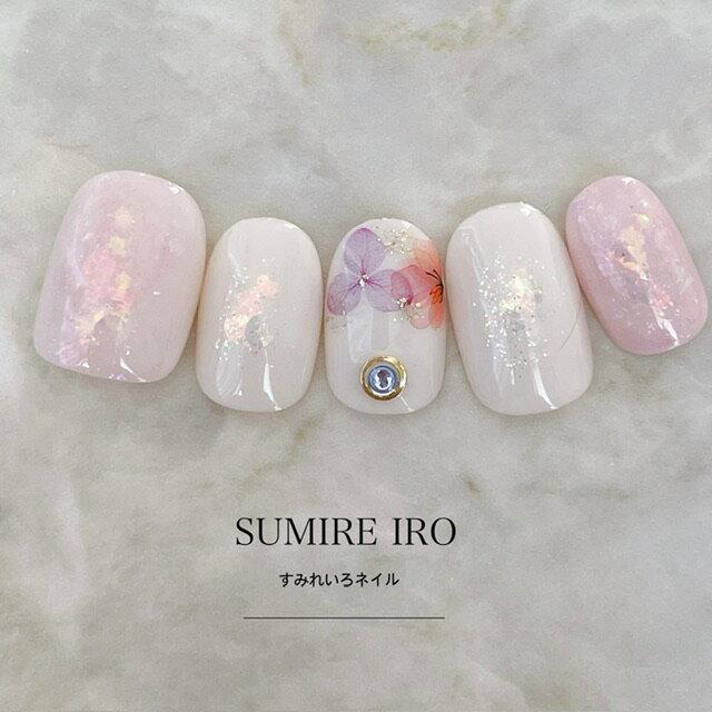 ネイルチップ|ピンクマーブル水彩フラワーシェルホロネイル短い爪ベリーショートからロングチップのつけ爪選べるサイズでぴったりネイルジェルネイルでワンランク上のチップを是非!成人式ネイルやブライダルネイルにも大人気!