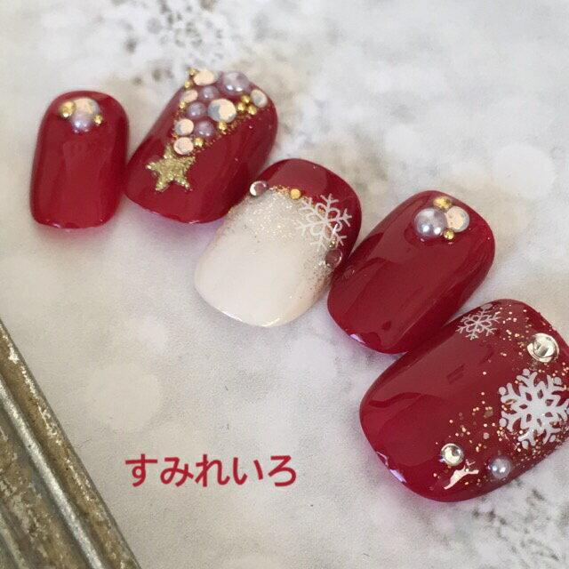 ネイルチップ クリスマス デザイン つけ爪 ベージュ かわいい ショート ロング シンプル プレゼン 母 nail 冬 短い爪 小さい爪 大きい爪 ベリーショート ちび爪 付け爪 ジェルネイル ラウンド●ボルドー レッド アイボリー 赤 雪 スノー 雪の結晶 クリスマスツリー 1458