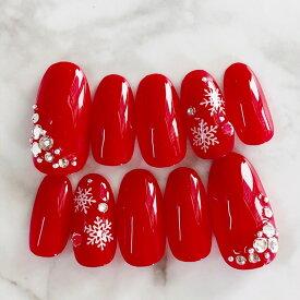 ネイルチップ つけ爪 デザイン かわいい ショート ロング シンプル クリスマス nail プレゼント 母 短い爪 小さい爪 大きい爪 ベリーショート ちび爪 赤 レッドネイル 付け爪 ジェルネイル【1595】レッドクリスマススノー雪の結晶 a/n