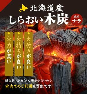 北海道産しらおい木炭(原料:ナラ)火付き・火持ちが良い、火力が高い!室内利用も可能