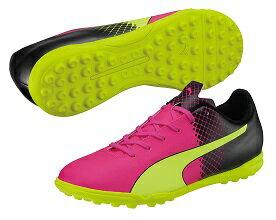 プーマ エウ゛ォスピード 5.5 トリックス TTピンクグロー×セーフティイエロー サッカートレーニングシューズ103591-01 左右非対称カラー