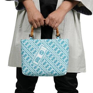 特注バンブー手提げ袋(横長)縫製サイズ:小(約20cm×25cm×6cm)<お好きな生地で制作いたします>【納期:約14日】※生地別途必要[祭り用品特注品オーダーメイドバッグバンブー持ち手バッグ竹製手提げバンブー]
