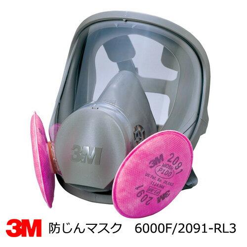 防塵マスク兼防毒マスク 3M(スリーエム) 6000F/2091-RL3全面体 アスベスト・ダイオキシン防塵対応