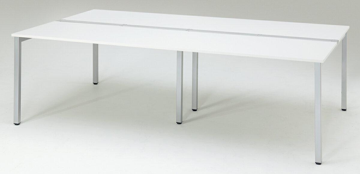 プラス フリーアドレスデスク Mulpose(マルポス) メインテーブル(標準タイプ) ML-2414【幅2400×奥行1400×高さ720mm】【本体:シルバー】【天板:ホワイト】