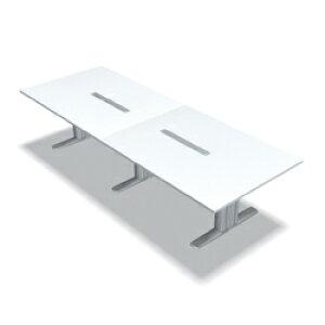 プラス 会議テーブル XF TYPE L (エクセフ タイプエル) XL-3212KG W4/M4 【ミーティングテーブル】【天板カラー:ホワイト、脚カラー:シルバー】【幅3200mm×奥行1200mm×高さ720mm】